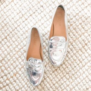 J. Crew silver loafers
